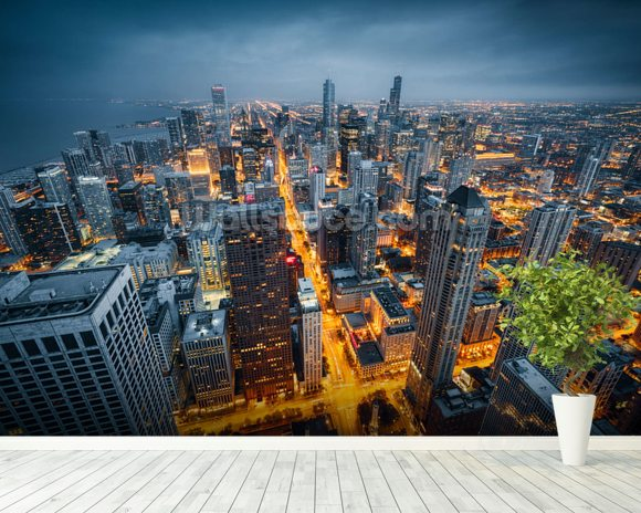 Chicago skyline dusk wallpaper wall mural wallsauce for Chicago skyline wall mural